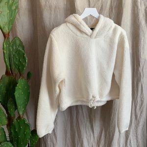 Wild Fable Cropped Ivory Sherpa Hooded Sweater NWT